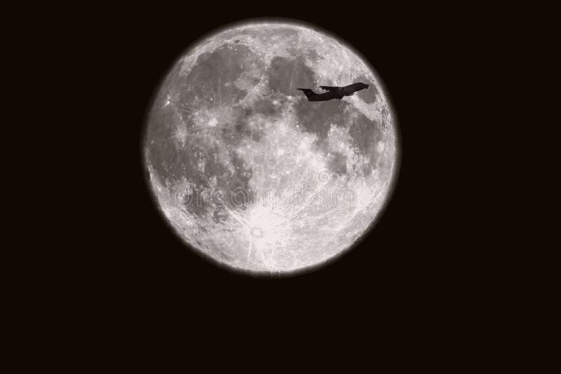 Fondo de la Luna Llena aislado en negro fotografía de archivo