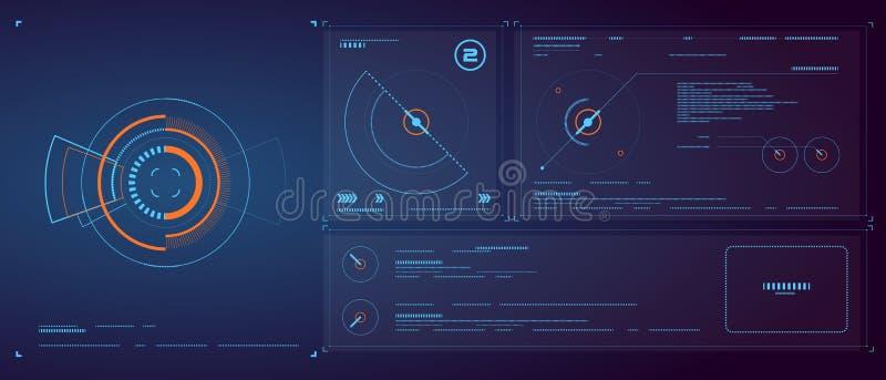 Fondo de la luz de ŒBlue del ¼ de Designï del interfaz de la tecnología, efecto de la tecnología, estructura, establecimiento de  stock de ilustración