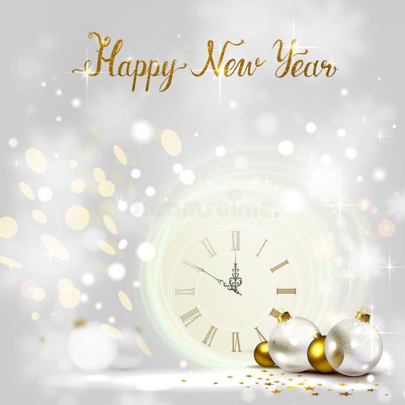 Fondo de la luz del brillo del día de fiesta y chucherías festivas Medianoche del Año Nuevo en el reloj stock de ilustración