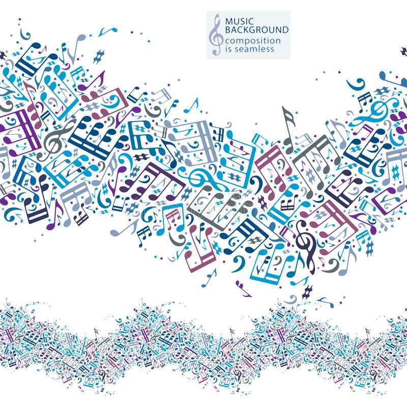 Fondo de la música con las notas musicales y la composición inconsútil libre illustration