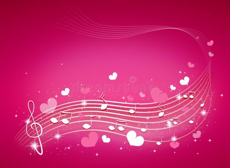 Fondo de la música con los corazones stock de ilustración