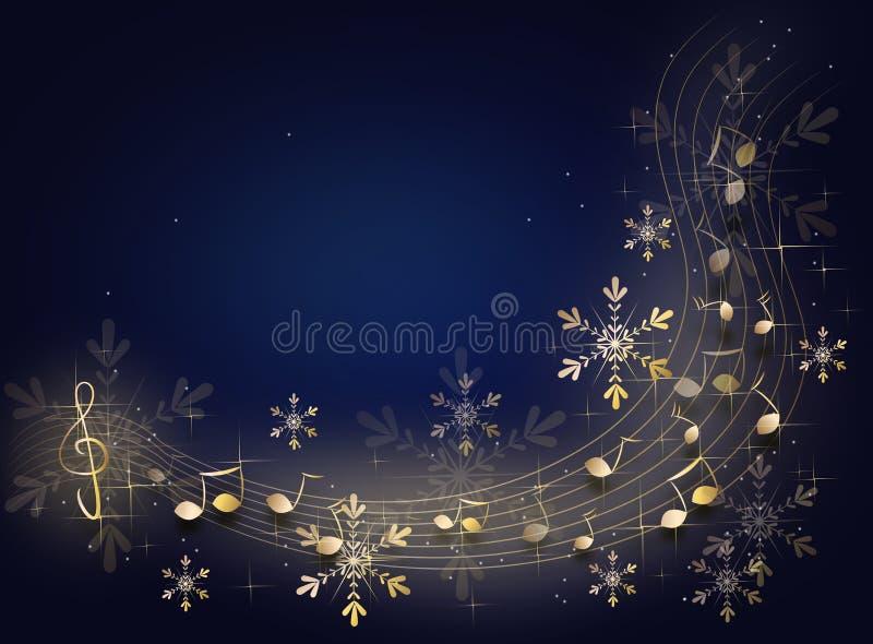 Fondo de la música de la Navidad ilustración del vector