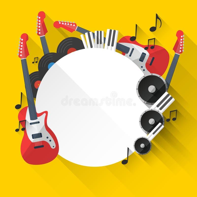 Fondo de la música del vector en diseño plano del estilo stock de ilustración