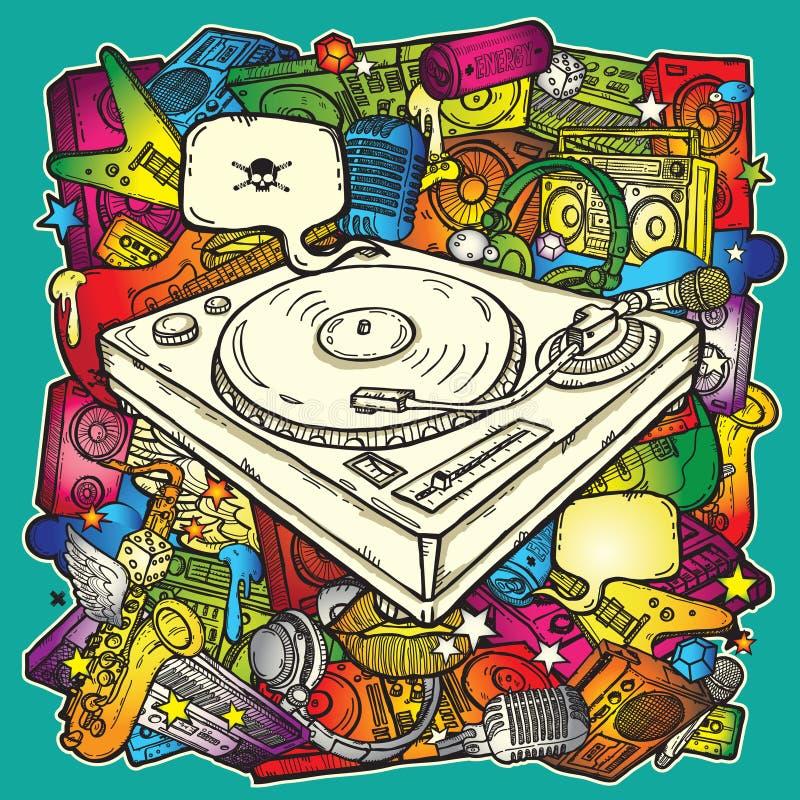 Fondo de la música en color ilustración del vector