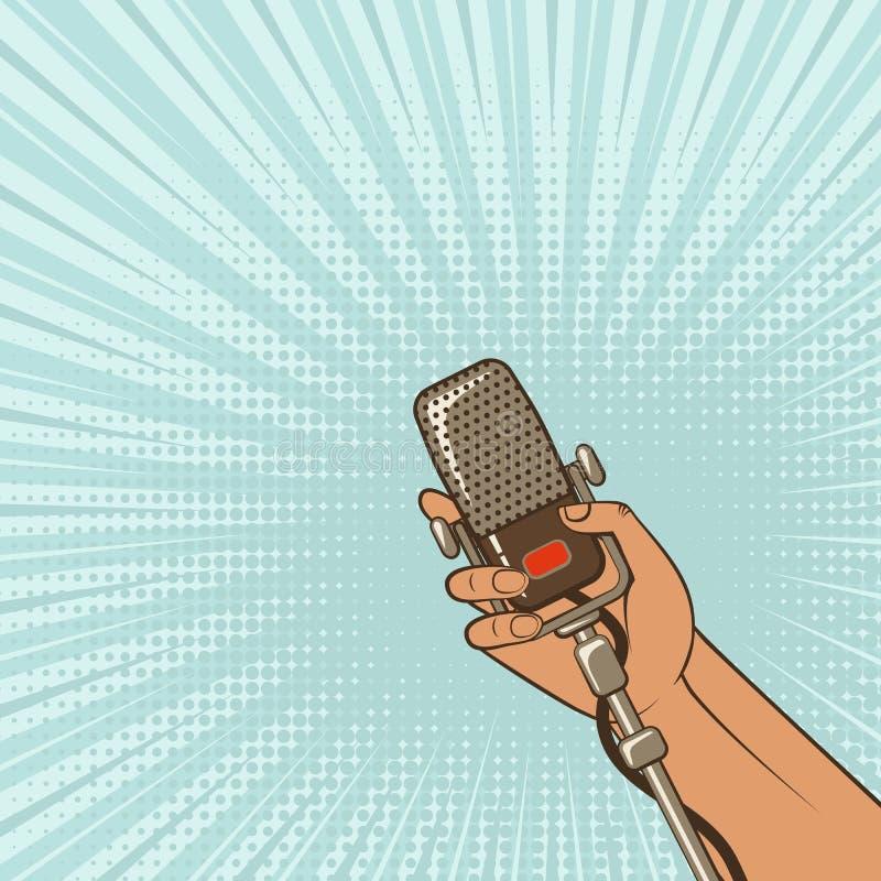 Fondo de la música mano masculina con el micrófono retro stock de ilustración