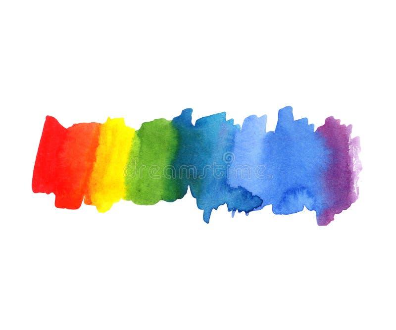 Fondo de la mancha blanca /negra del color del arco iris de la acuarela del extracto del ejemplo Espectro de color stock de ilustración