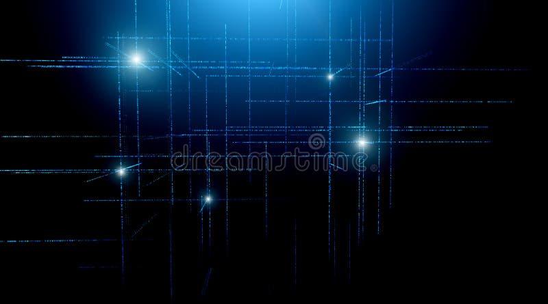 Fondo de la matriz del código binario de Digitaces - representación 3D de la red científica del código binario de los datos de la ilustración del vector