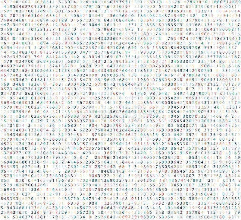 Fondo de la matriz del color con los dígitos Código de ordenador para cifrar y codificar ilustración del vector