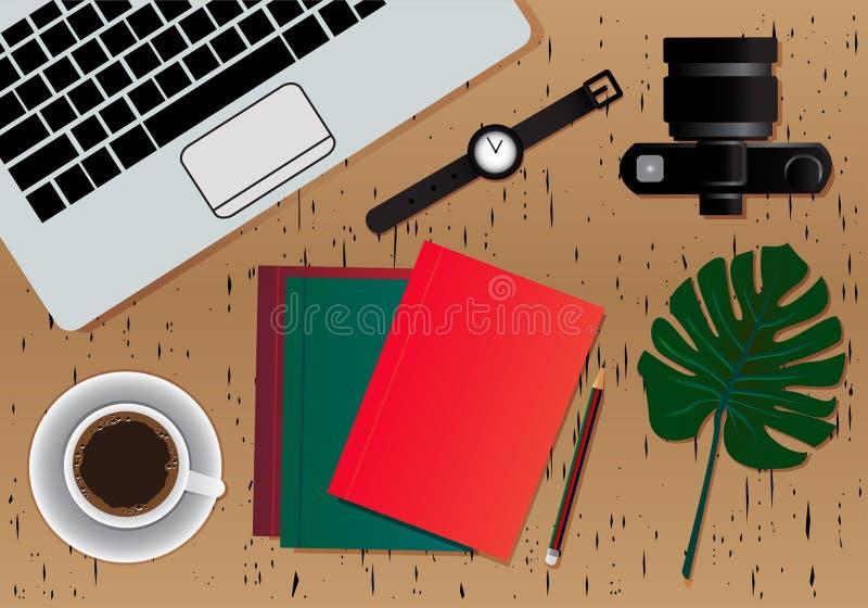 Fondo de la mesa del lugar de trabajo Vista superior de la tabla Superficie superior con para el color de Brown de maderas, fondo stock de ilustración