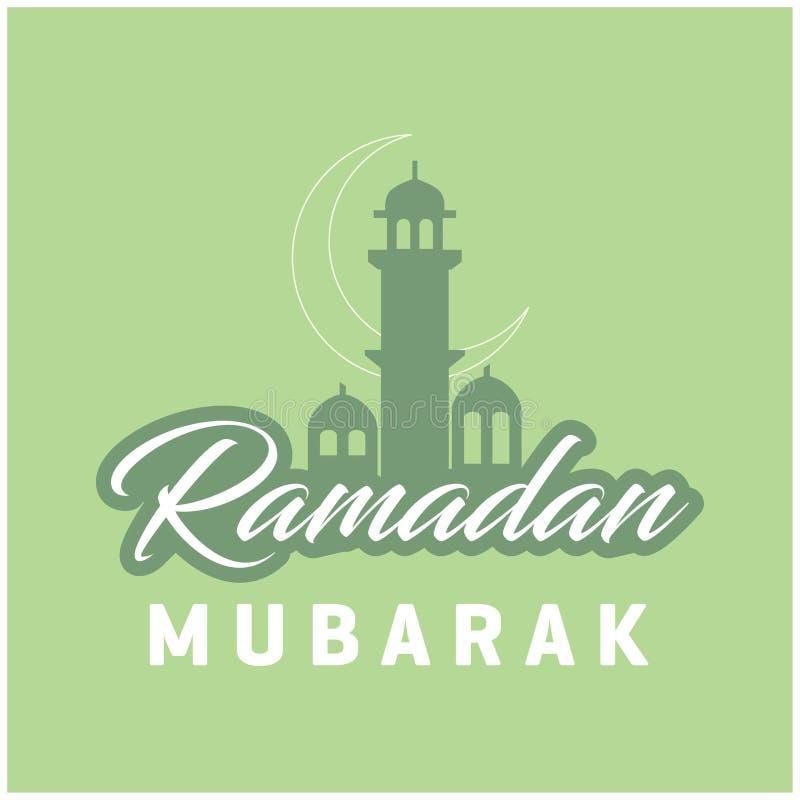 Fondo de la mezquita de Ramadan Kareem Cresent Moon Lettering Green libre illustration