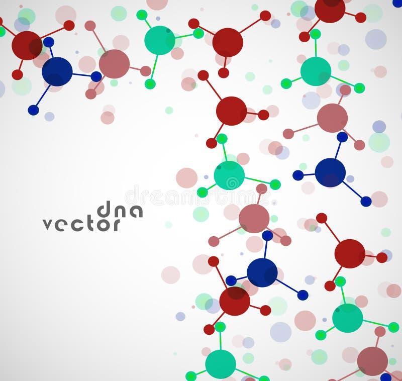 Fondo de la molécula, ejemplo colorido ilustración del vector