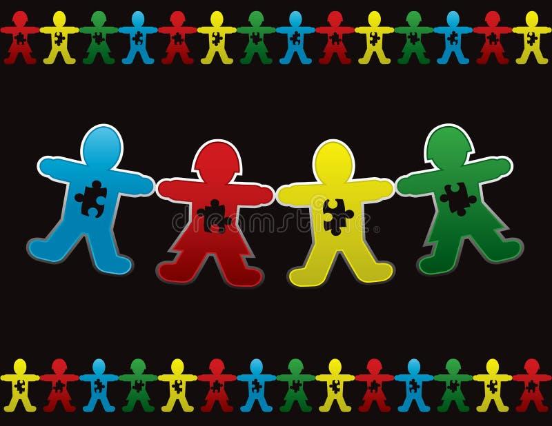 Fondo de la muñeca del papel de autismo de niño stock de ilustración