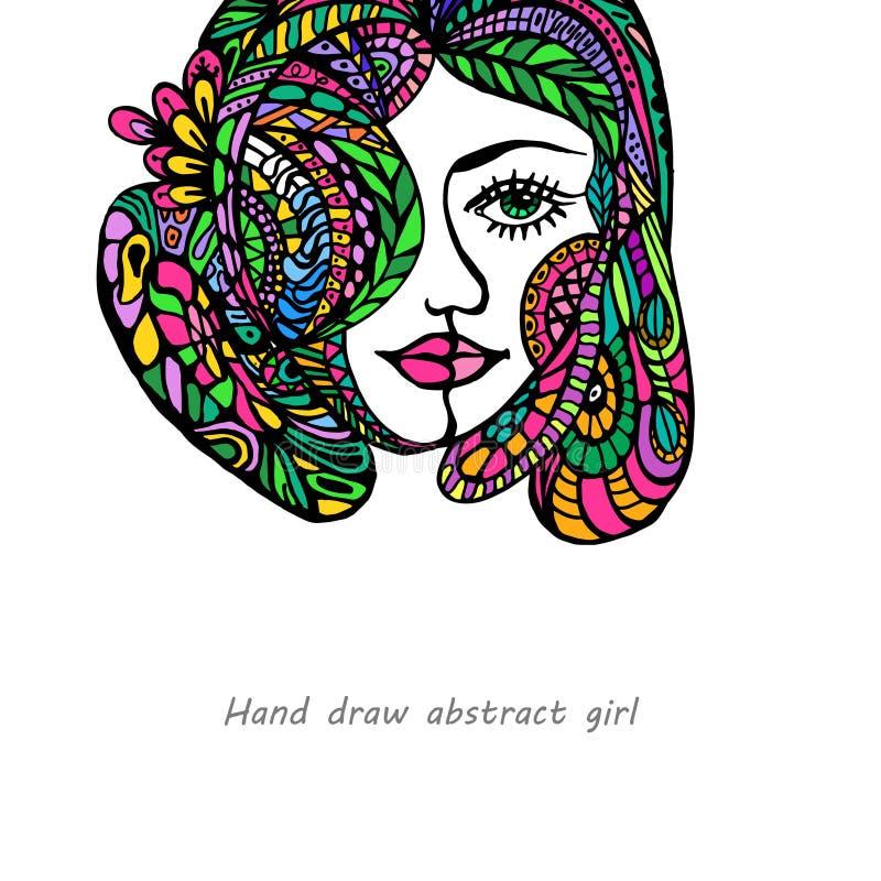 Fondo de la muchacha del garabato stock de ilustración