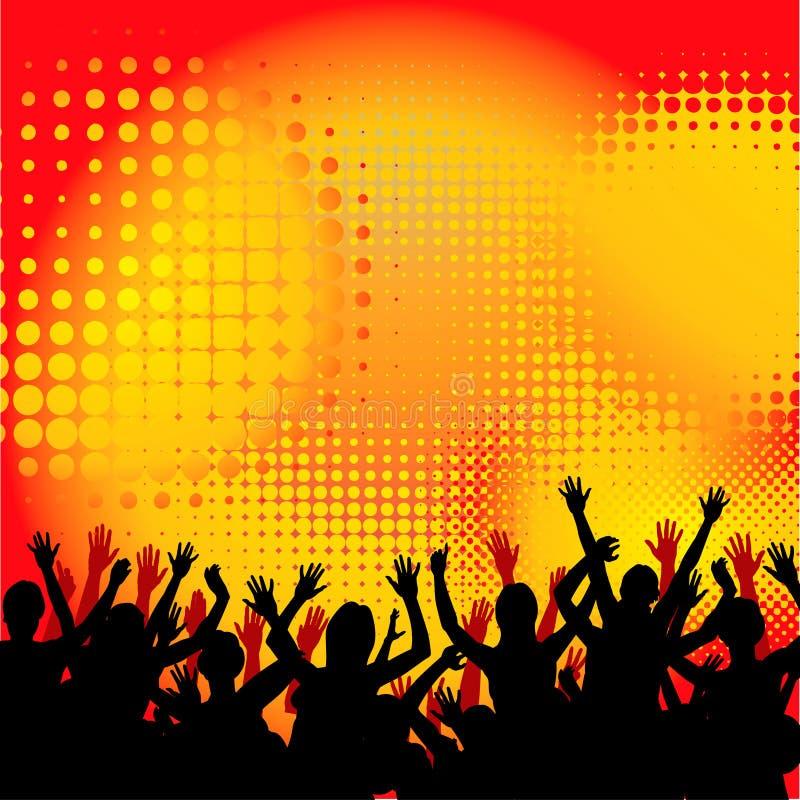 Fondo de la muchedumbre del concierto stock de ilustración