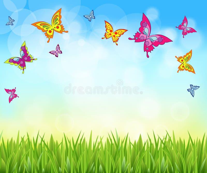 Fondo de la naturaleza con la hierba y las mariposas stock de ilustración