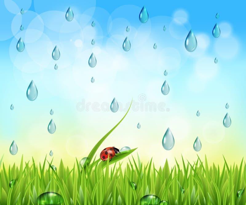 Fondo de la naturaleza con las gotas de agua libre illustration