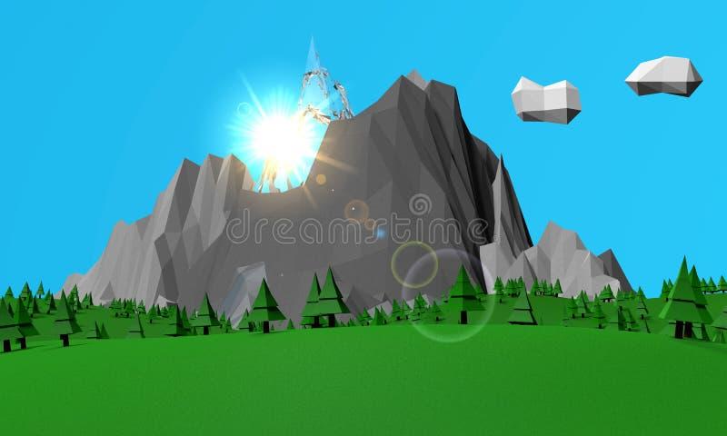 Fondo de la naturaleza con las montañas stock de ilustración