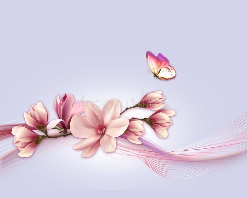 Fondo de la naturaleza con la rama de la flor stock de ilustración