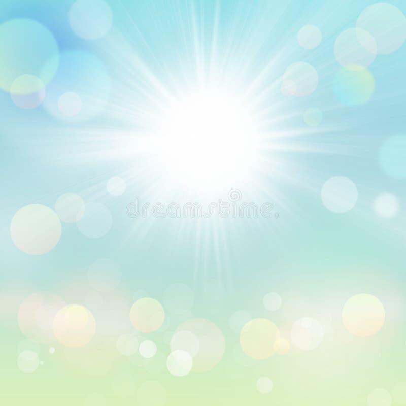 Fondo de la naturaleza de Sun del verano de la primavera con el prado verde libre illustration