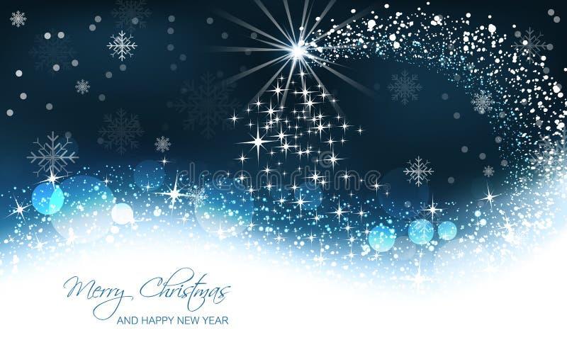 Fondo de la Navidad, árbol de navidad y onda de la nieve stock de ilustración
