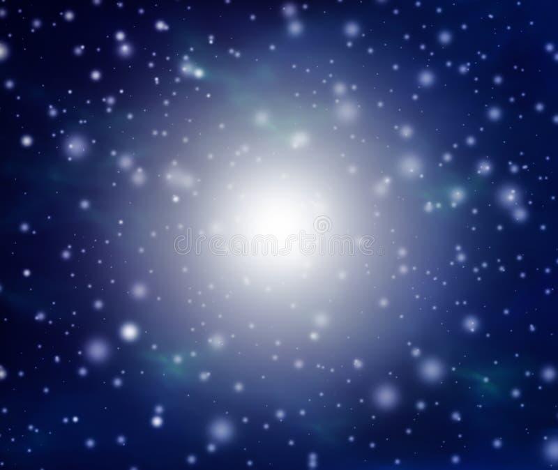 Fondo de la Navidad abstracta hermosa y del Año Nuevo con nieve que cae y espacio libre para el texto stock de ilustración
