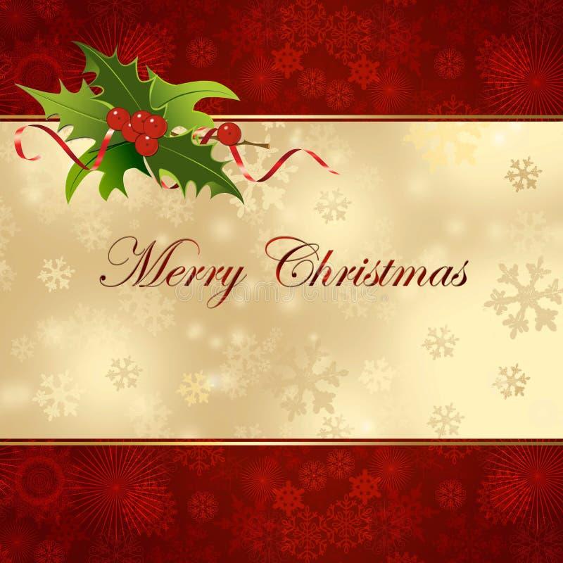 Fondo de la Navidad con acebo. stock de ilustración