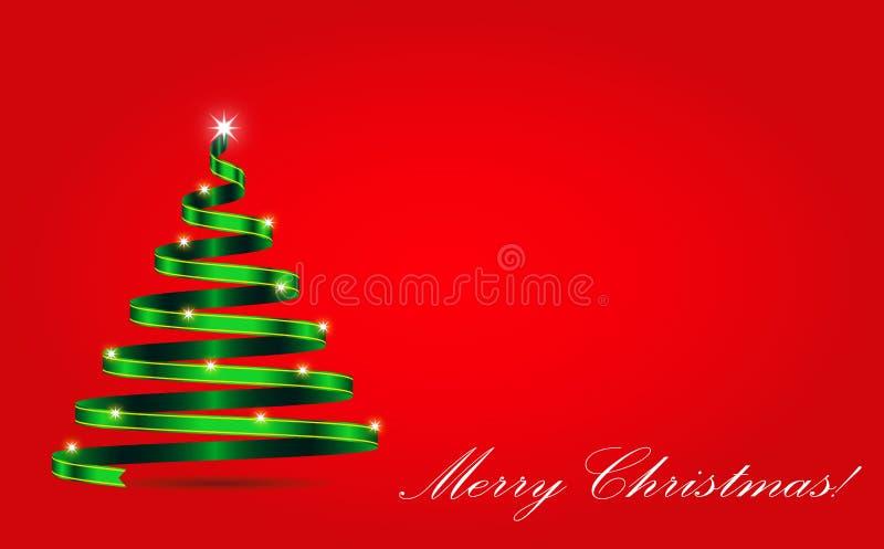Fondo de la Navidad con la cinta chispeante en la forma del árbol de navidad libre illustration