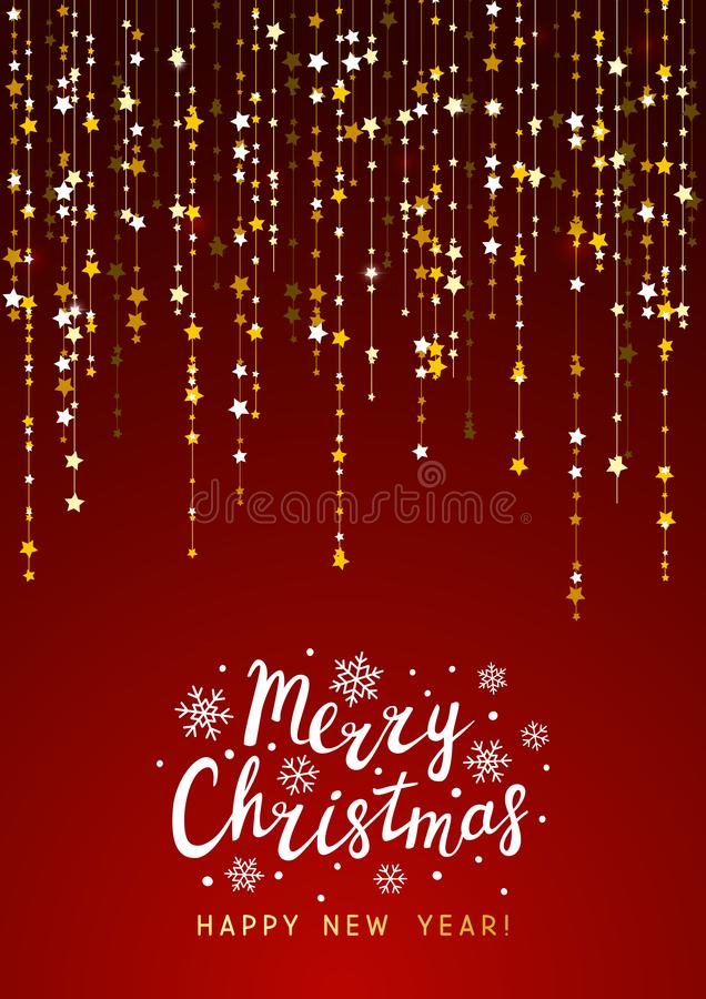Fondo de la Navidad con la decoración de oro ilustración del vector
