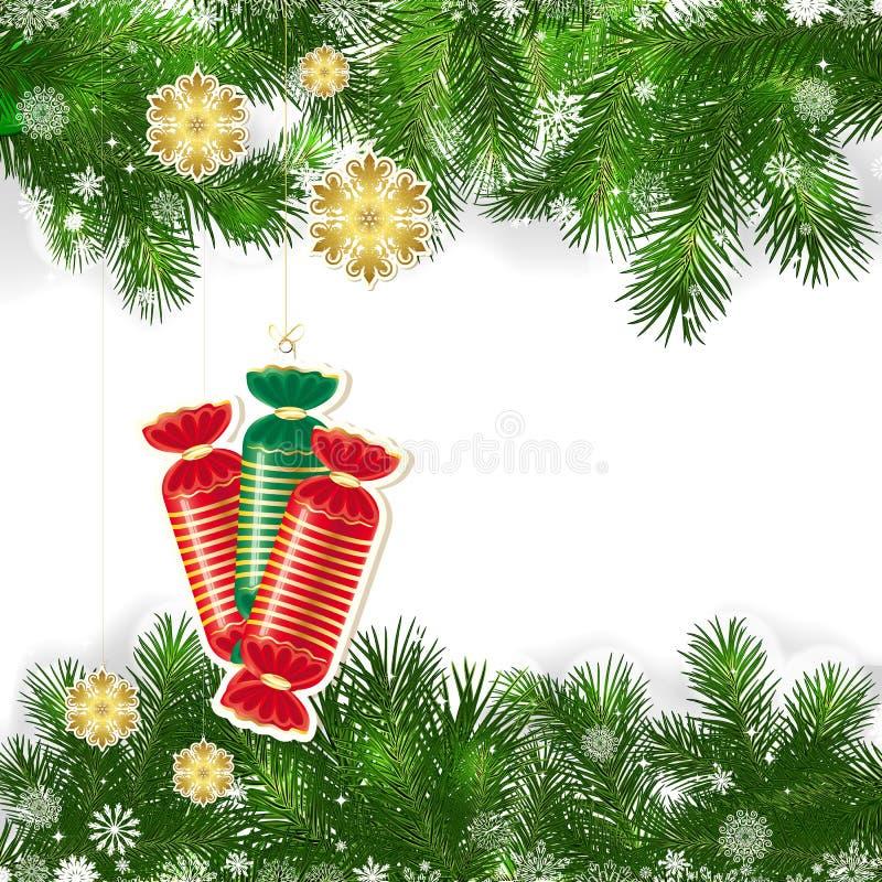 Fondo de la Navidad con la decoración de la Navidad y las ramas verdes stock de ilustración