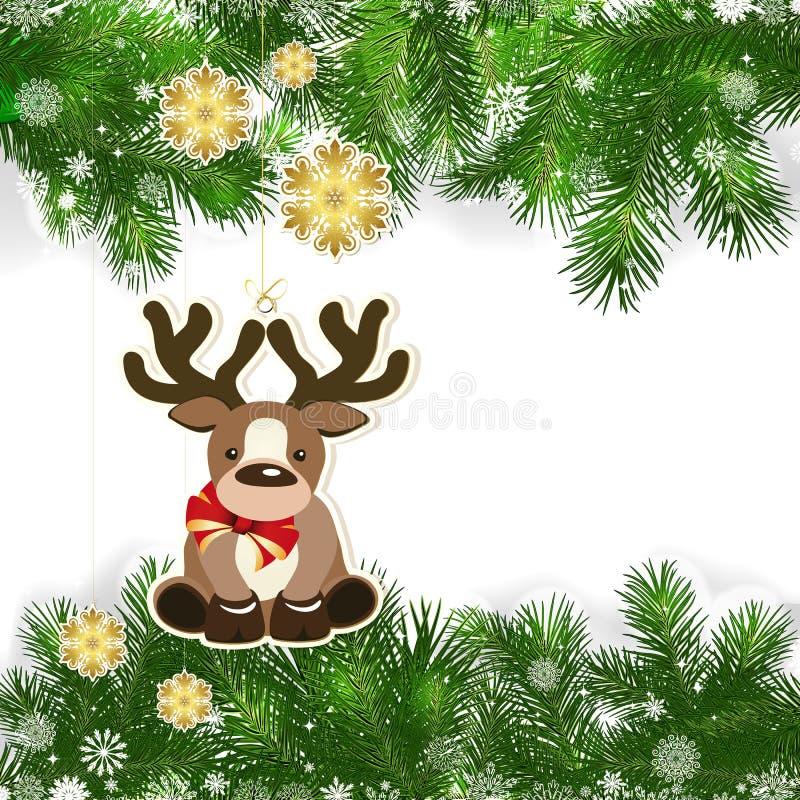 Fondo de la Navidad con la decoración de la Navidad y las ramas verdes ilustración del vector