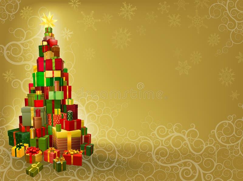 Fondo de la Navidad con el árbol de los regalos libre illustration