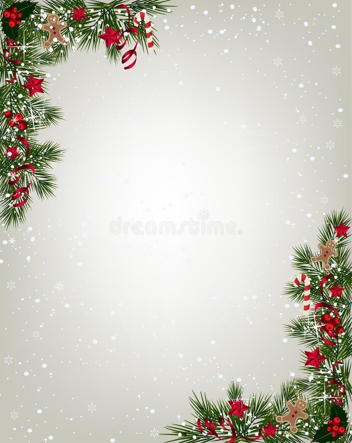 Fondo de la Navidad con el abeto y los copos de nieve libre illustration