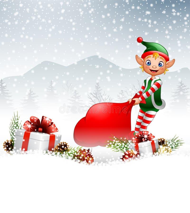 Fondo de la Navidad con el duende que tira de un bolso por completo de regalos ilustración del vector