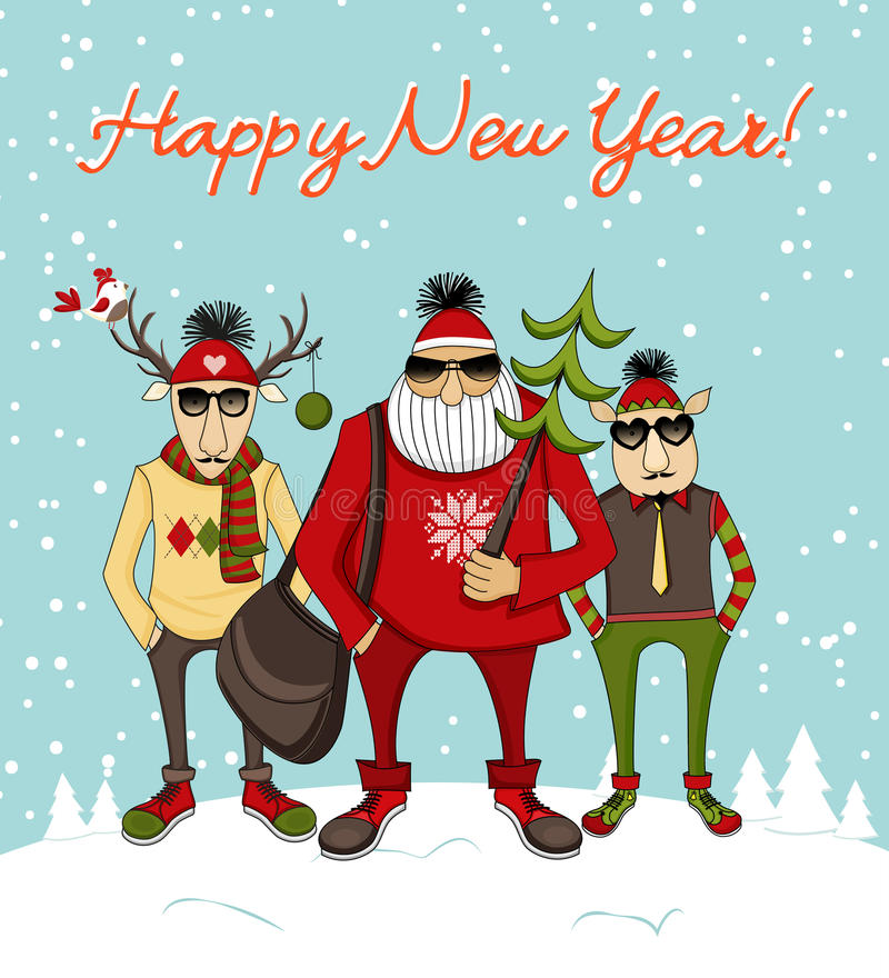 Fondo de la Navidad con el inconformista Papá Noel stock de ilustración