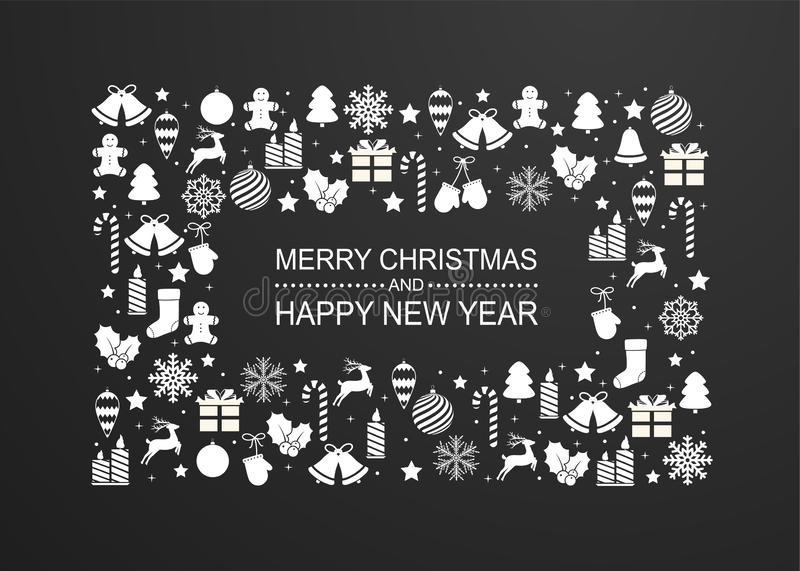 Fondo de la Navidad con el marco de las decoraciones blancas de las vacaciones de invierno Tarjeta de felicitación de la Feliz Añ stock de ilustración