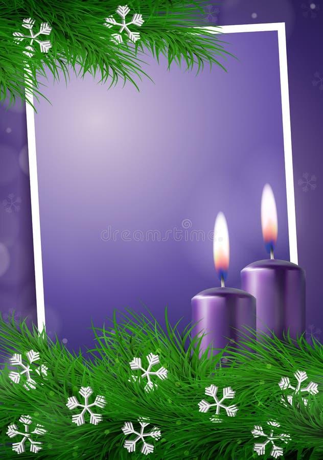 Fondo de la Navidad con el marco y espacio vacío en vector púrpura stock de ilustración