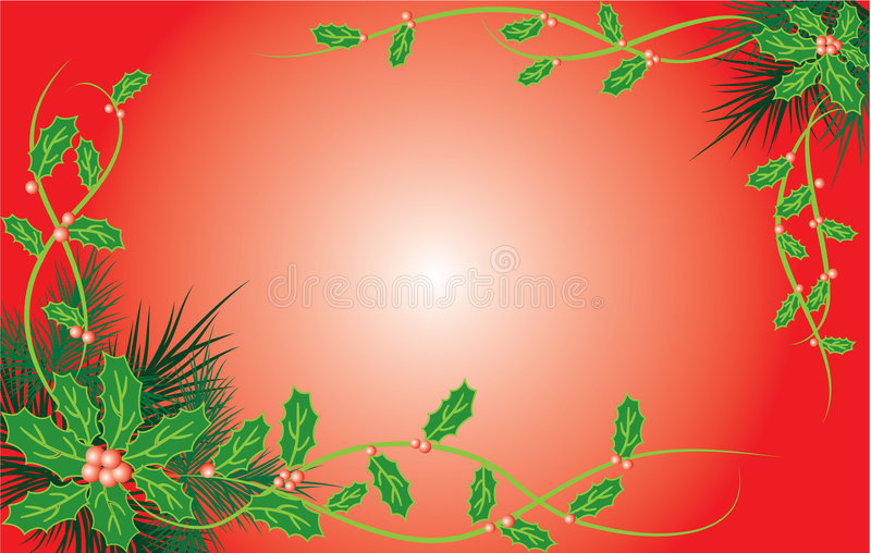 Fondo de la Navidad con el muérdago y un piel-árbol, vector libre illustration