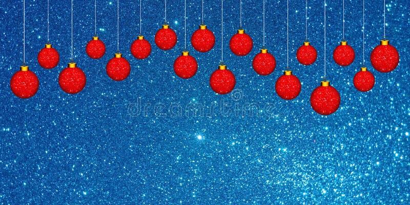 Fondo de la Navidad con el ornamento rojo en un fondo azul del brillo ilustración del vector