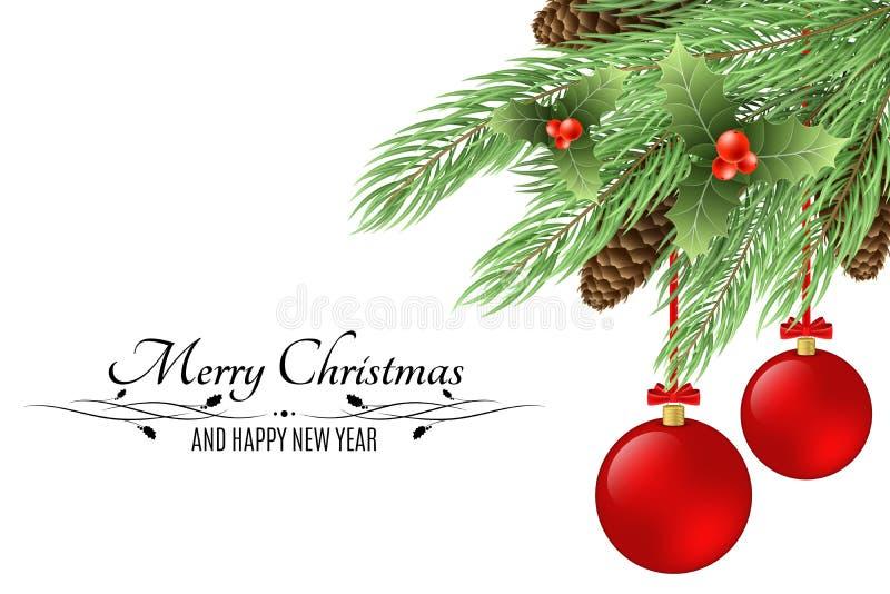 Fondo de la Navidad con el texto Feliz Navidad y Feliz Año Nuevo Bayas Nevado, árbol de la piel, conos aislados en el fondo blanc libre illustration