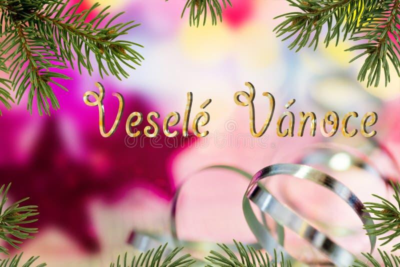 Fondo de la Navidad con la escritura de Feliz Navidad en Checo fotografía de archivo