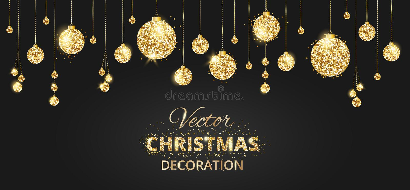 Fondo de la Navidad con la decoración del brillo Negro y CCB del oro stock de ilustración