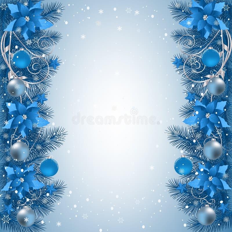 Fondo de la Navidad con la frontera y la decoración de la rama del abeto libre illustration
