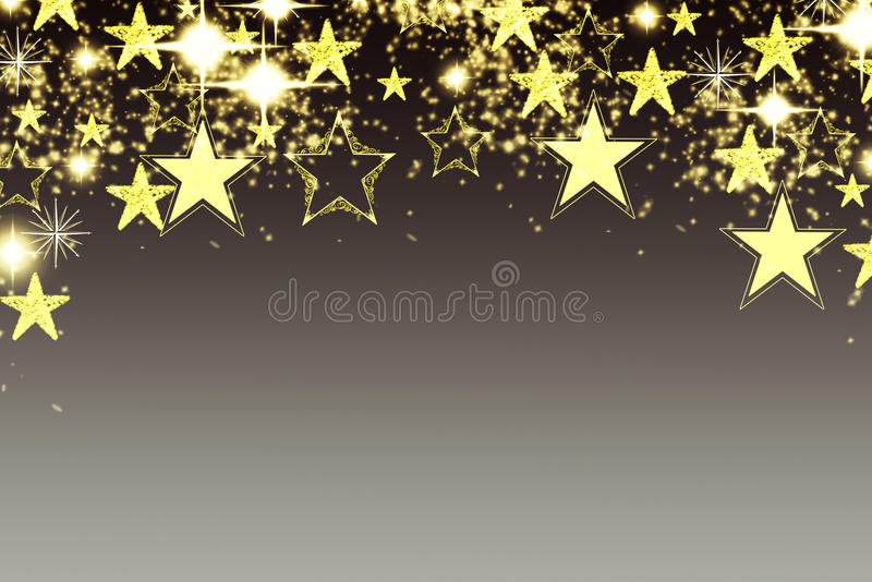 Fondo de la Navidad con la guirnalda luminosa con las estrellas, los copos de nieve y el lugar para el texto Fondo brillante azul libre illustration