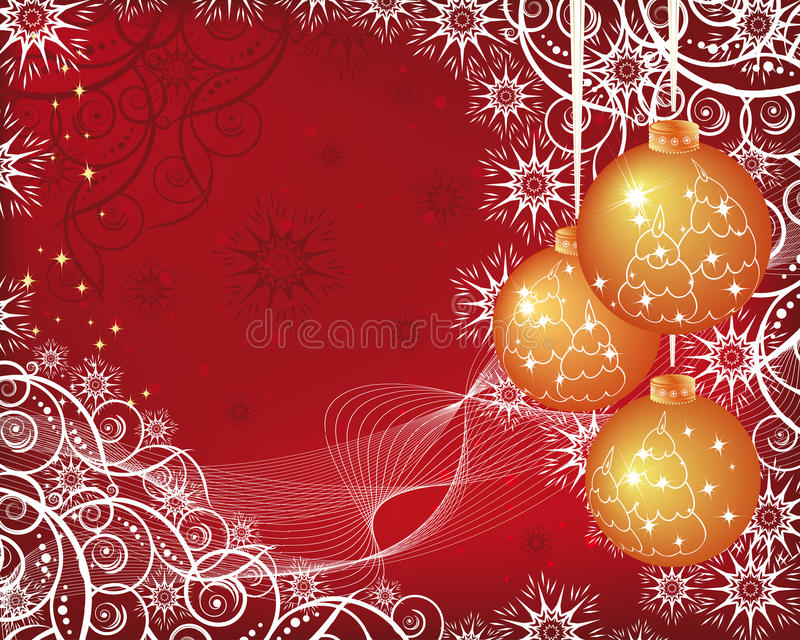Fondo de la Navidad con las bolas de oro stock de ilustración