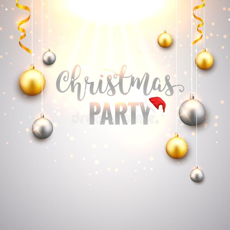 Fondo de la Navidad con las bolas de la Navidad del oro y de la plata Tarjeta festiva decorativa del diseño de la celebración de  stock de ilustración