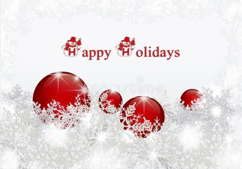 Fondo de la Navidad con las bolas rojas ilustración del vector