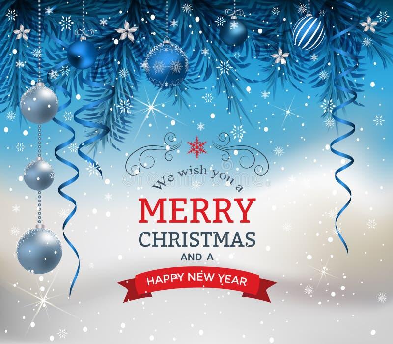 Fondo de la Navidad con las bolas y el arco de la Navidad de las ramas del abeto stock de ilustración