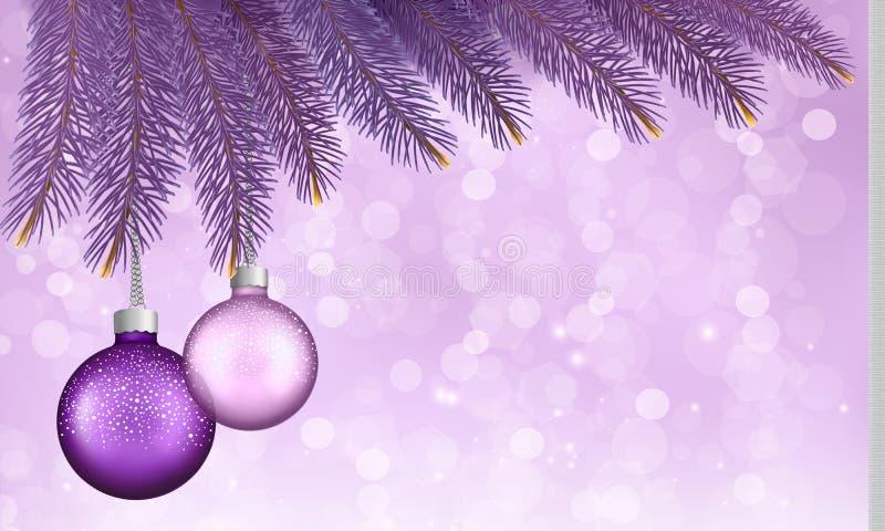 Fondo de la Navidad con las bolas y las ramas. stock de ilustración