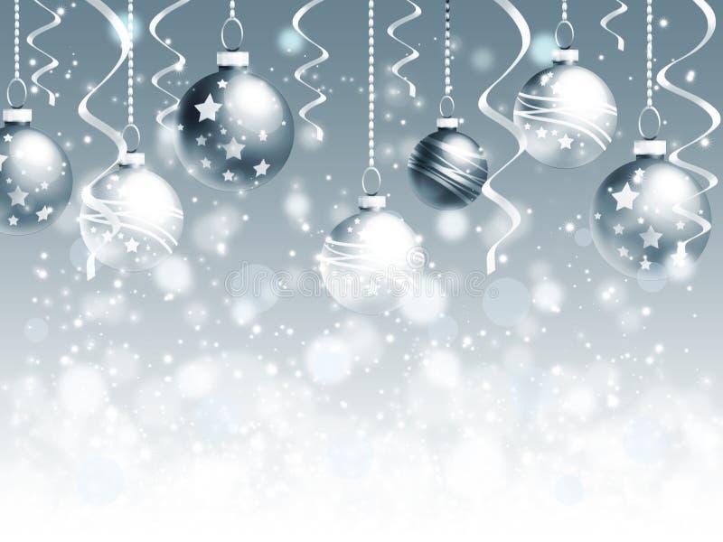 Fondo de la Navidad con las bolas y los copos de nieve stock de ilustración