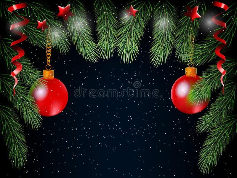 Fondo de la Navidad con las bolas y la piel del árbol libre illustration